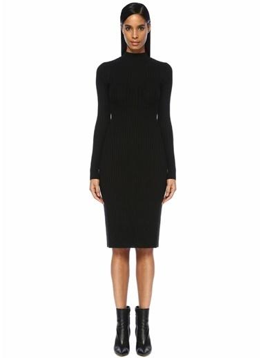 Zoe Morgan Dik Yaka Sırt Dekolteli Midi Triko Elbise Siyah